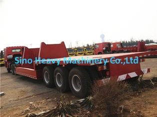 China 3 Axles Manual Semi Trailer Trucks Low Bed , Two Single Cargo Truck supplier