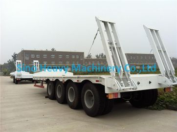 Flatbed Manual Semi Trailer Trucks 4 Axles with Four Double Air Chamber